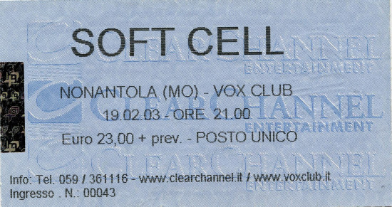 02.Soft Cell (19.02.2003, Nonantola (MO), Vox Club)